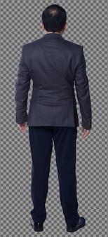 Figura de cuerpo entero de los años 50 años 60 asiáticos anciano pelo negro traje de negocios pantalón y soporte de zapatos. senior manager de pie y vista trasera lateral trasera sobre fondo blanco aislado