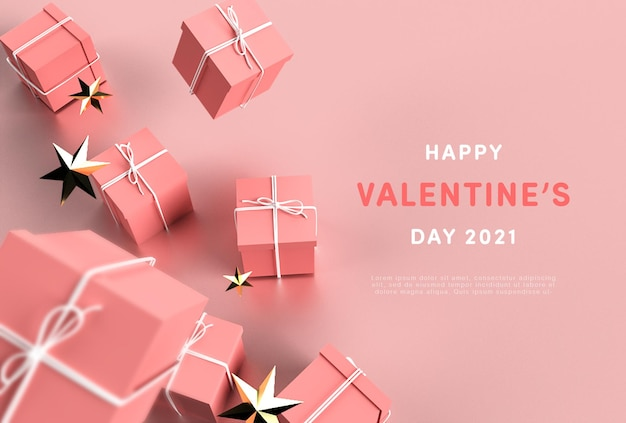 Fijne valentijnsdag in 3d-rendering
