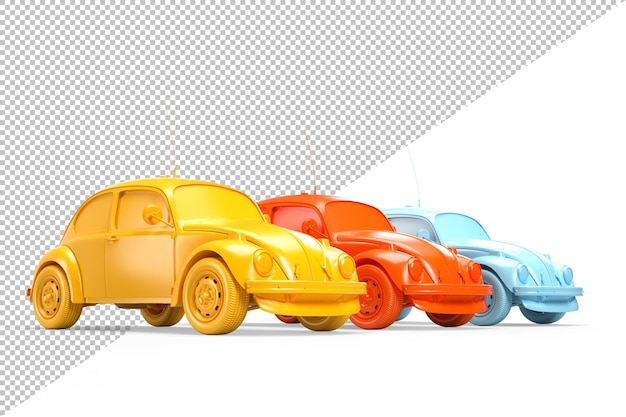 Fila de tres coches de colores antiguos