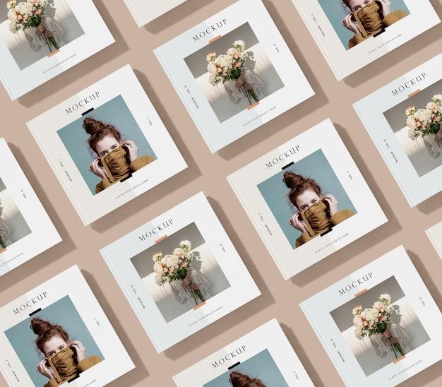 Filas y columnas de maqueta de revista editorial