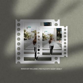 Filmpapier frame mockup en schaduwoverlay Premium Psd