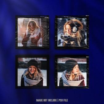 Filmstrip fotolijstmodel met plastic omslageffect premium psd