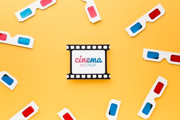 Filmstrips en 3d-bril mock-up bovenaanzicht