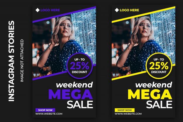 Fin de semana mega venta social web banners premium psd