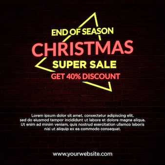 Fin de temporada navidad venta banner estilo de luz de neón