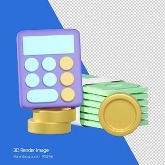 Financieel concept, 3d-rendering van geld bankbiljet en munt met rekenmachine geïsoleerd op wit.