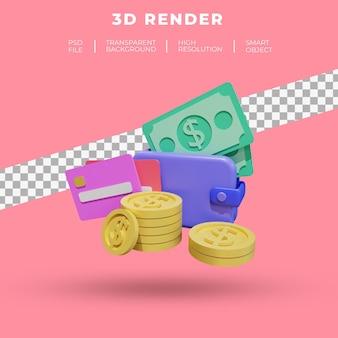 Financiën en seo of betalingsgegevens voor 3d-weergave van de bestemmingspagina-website geïsoleerd