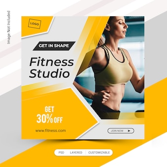 Fitness banner gym post sjabloon