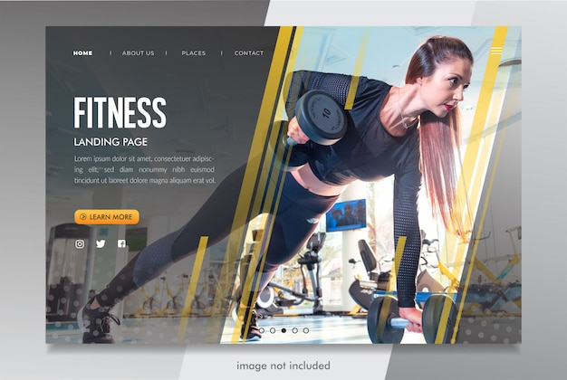 Fitness bestemmingspagina website mockup psd