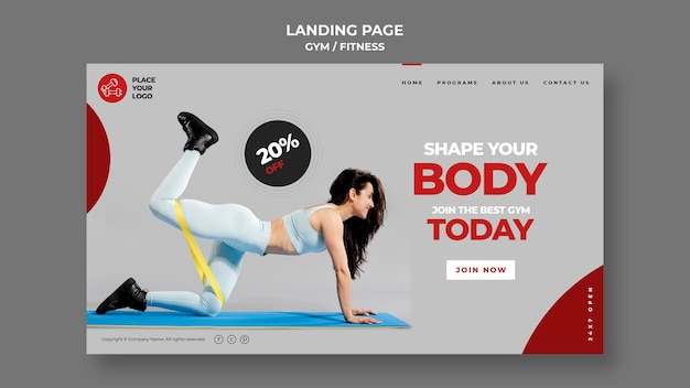 Fitness concept bestemmingspagina sjabloon
