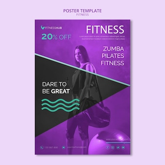 Fitness concept poster sjabloon