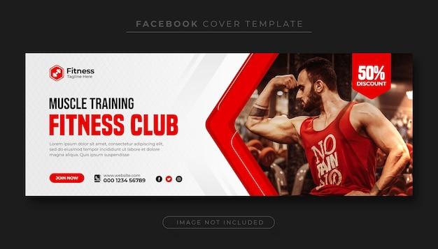 Fitness en gym workout facebook omslagfoto of social media webbanner