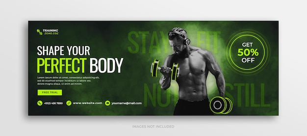 Fitness en gym workout facebook tijdlijn cover of social media webbannersjabloon