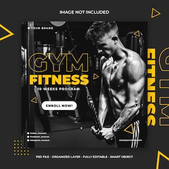 Fitness y entrenamiento de gimnasio redes sociales instagram post o square