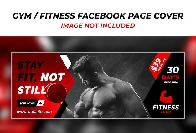 Fitness facebook cover ontwerpsjabloon