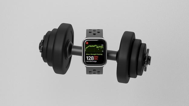Fitness gadget concept zwarte smartwatch met zwarte dumbbell smartwatch mock up 3d-rendering