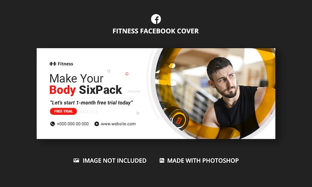 Fitness gym facebook-omslag en website-sjabloon voor spandoek