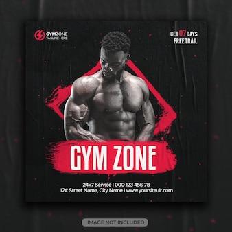 Fitness gym instagram post of vierkante social media flyer websjabloon
