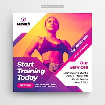 Fitness gym publicación en redes sociales y banner web