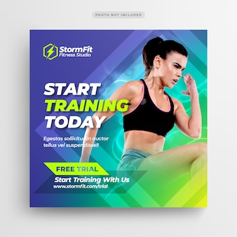 Fitness gym social media post of square flyer-sjabloon