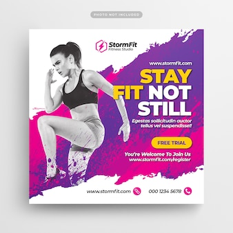 Fitness gym social media post & webbanner