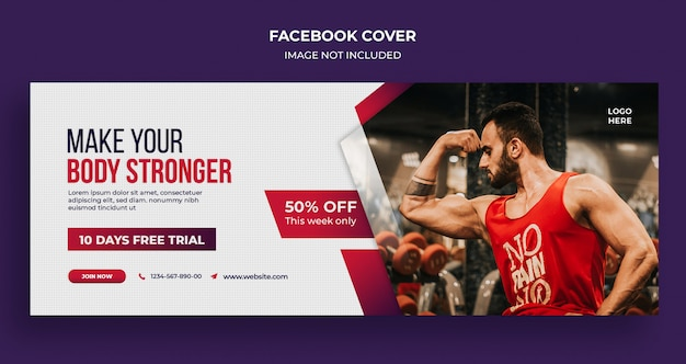 Fitness gym sociale media banner, sjabloon voor spandoek instagram