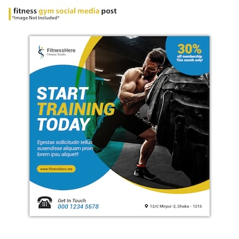 Fitness gym sociale media post sjabloon