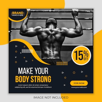 Fitness gym sociale media sjabloon voor spandoek
