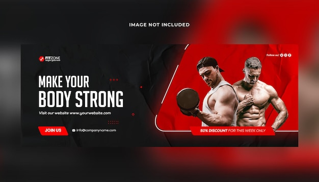 Fitness gym training facebook omslag en webbannersjabloon premium psd premium psd