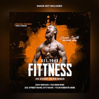 Fitness gym training instagram post en webbanner premium psd-sjabloon