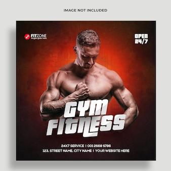Fitness gym training sociale media en webbannersjabloon premium psd