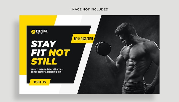 Fitness gym training youtube thumbnail psd-sjabloon