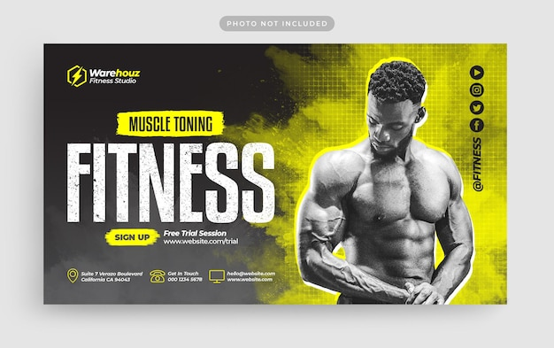 Fitness gym webbanner en youtube-miniatuur Premium Psd