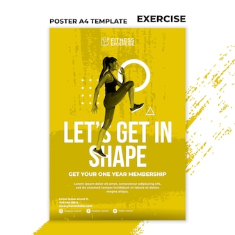 Fitness oefening poster sjabloon