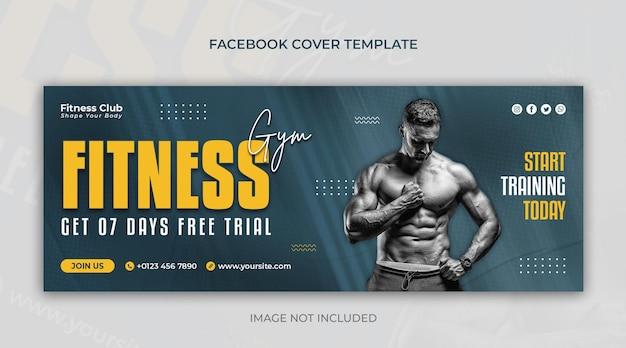 Fitness of sportschool horizontale banner of facebook omslagontwerpsjabloon