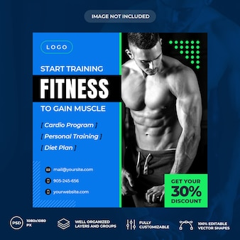 Fitness personal trainer sociale media banner sjabloon psd premium