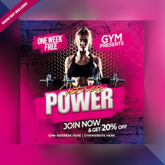 Fitness power instagram post