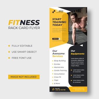 Fitness rackkaart dl flyer-sjabloon