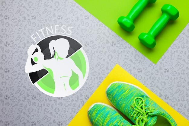 Fitness schoenen en gewichten apparatuur