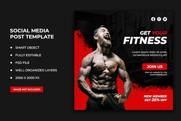 Fitness social media post en webbanner