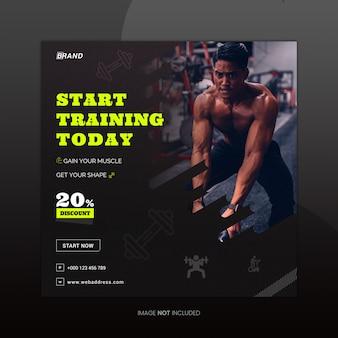 Fitness sociale media banner ontwerpsjabloon