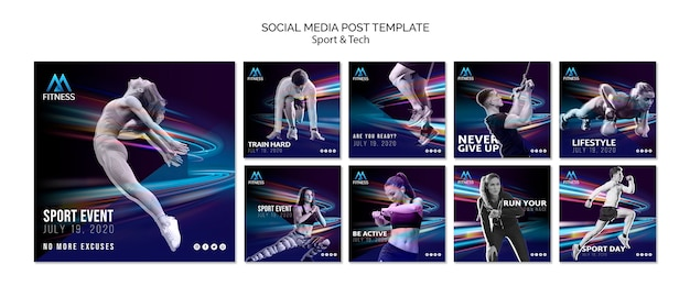 Fitness sociale media post sjabloon