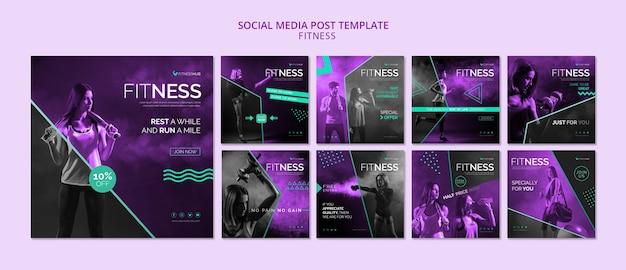 Fitness sociale media post sjabloon