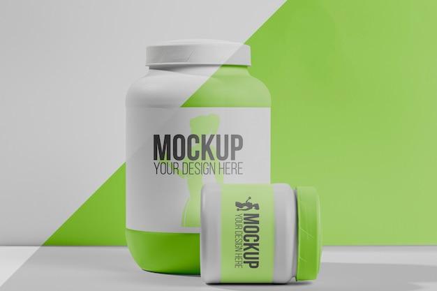 Fitness stimulerende middelen poeder en pillen vooraanzicht