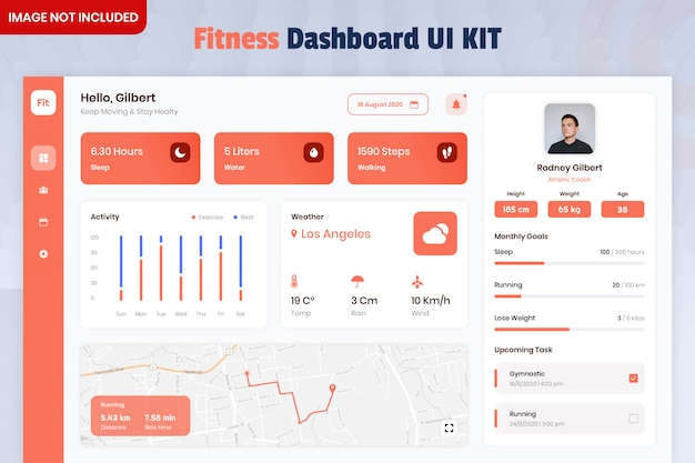 Fitness tracker dashboard ui kit