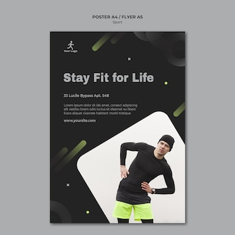 Fitness training poster sjabloon