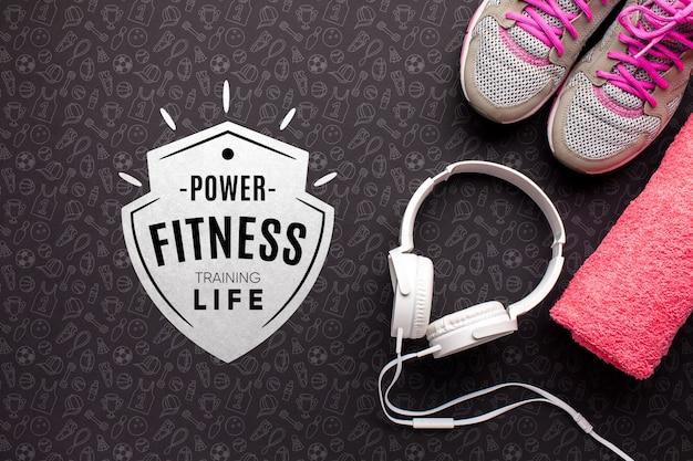 Fitnessapparatuur en hoofdtelefoons