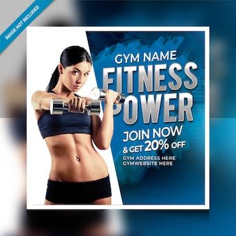Fitnesspower postsjabloon voor sociale media