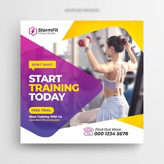 Fitnessruimte sociale media post banner of vierkante flyer