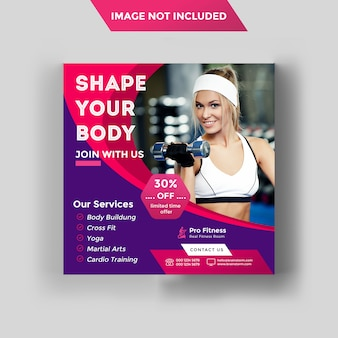 Fitnessruimte sociale media post of vierkante flyer-sjabloon